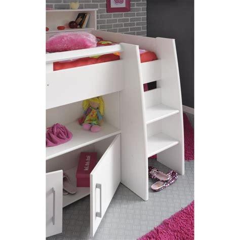 dave lit combin 233 90cm bureau rangement blanc achat vente lit mezzanine pas cher couleur et