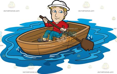 Cartoon Man In A Boat by A Man Rowing A Boat Clipart By Vector Toons