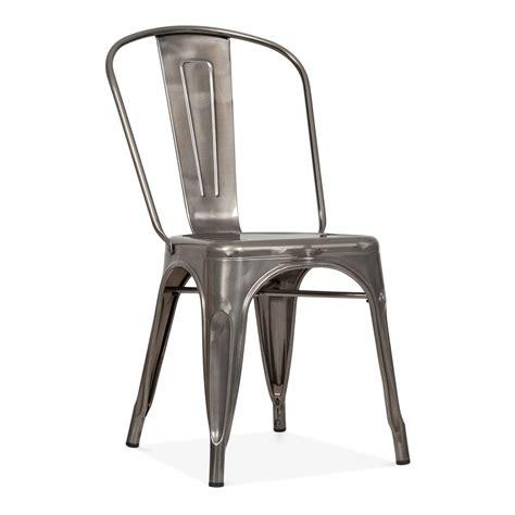 Tolix Style Gunmetal Steel Industrial Side Chair   Cult Furniture