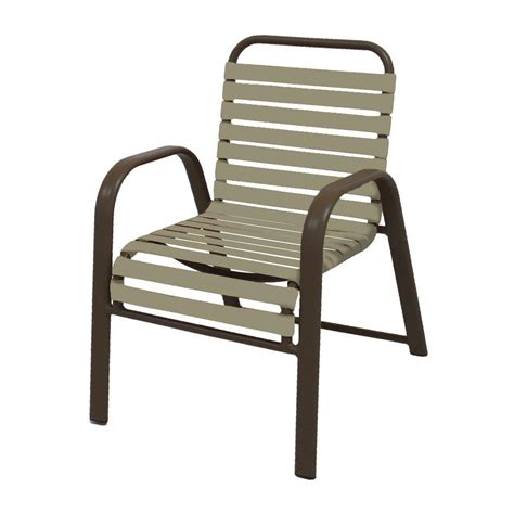 marco island brownstone commercial grade aluminum patio dining chair with putty vinyl straps 2