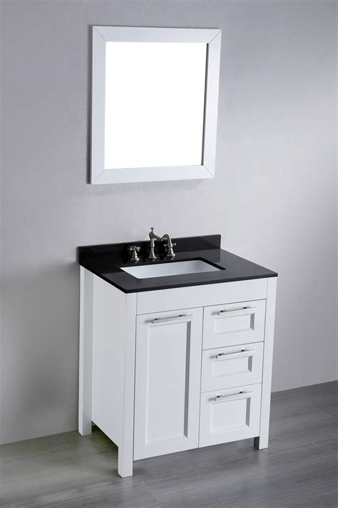 30 inch white contemporary single bathroom vanity black granite top