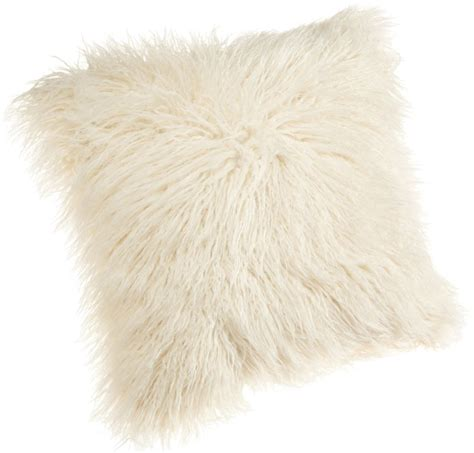 brentwood 18 inch mongolian faux fur pillow white fluffy bedding throw pillow ebay