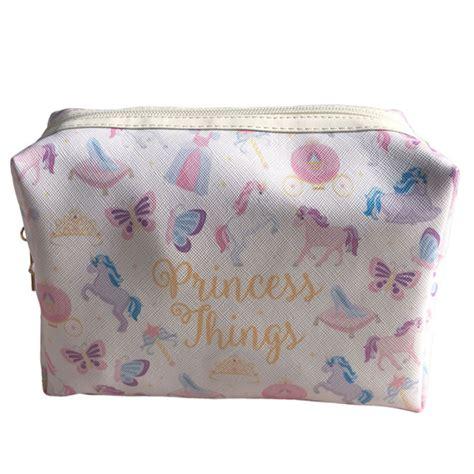 trousse de toilette girly en tissu avec motifs princesse et licorne sur rapid cadeau