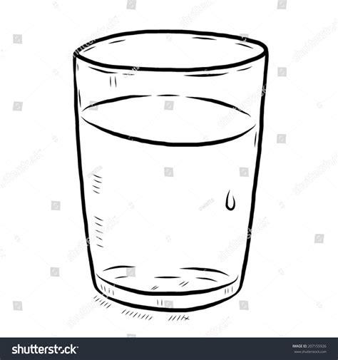 Glass Water Cartoon Vector Illustration Black Stock Vector