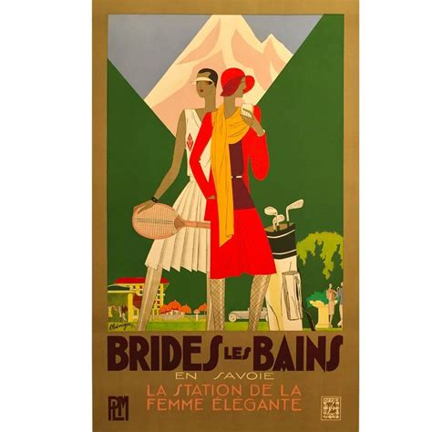 deco period travel poster brides les bains by benigni 1929 for sale at 1stdibs