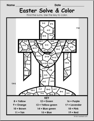 Easter Coloring Page  Solve & Color Packet  Easter Math  Easter Math Coloring Page Abcteach