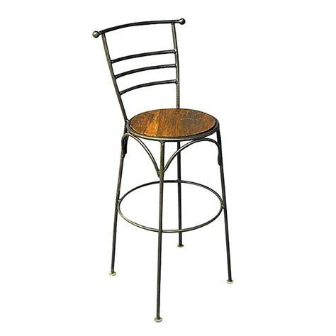 tabouret de bar en bois exotique et fer forg 233 esprit bistrot