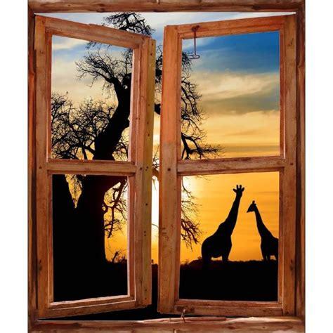 sticker mural fen 234 tre trompe l oeil d 233 co girafes afrique dimensions 80x100cm achat vente