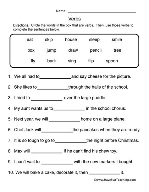 Fun And Engaging Second Grade Verb Worksheet 1 Fill Blanks For Your Classroom