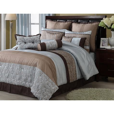 8pc blue brown floral and striped design cotton blend comforter set king ebay