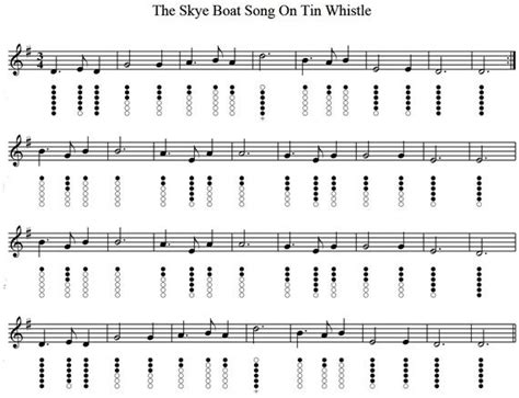 Love Boat Theme Guitar Chords by The Skye Boat Song Tin Whistle Sheet Music Music To My