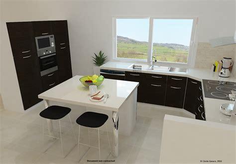 projet cuisine 3d table de cuisine