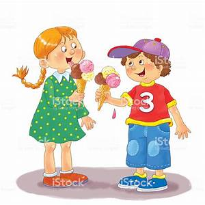 Happy Cute Kids Eating Ice Cream Illustration For Children ...