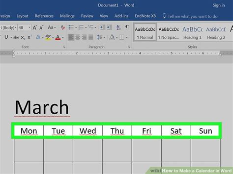 How To Make A Calendar In Word (with Pictures) Wikihow