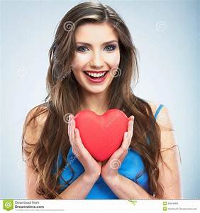 Happy Young Woman With Heart Love Symbol Stock Image ...