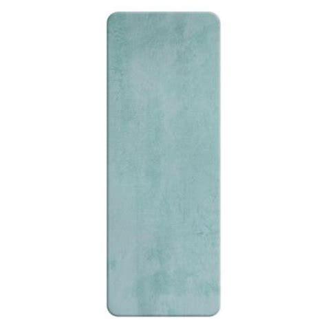 sleep innovations faded blue 24 in x 60 in bath rug