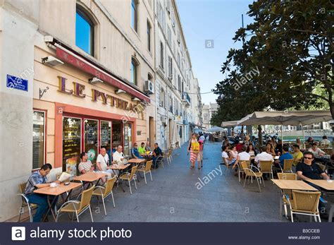cafe bar in the place du general de gaulle vieux port district stock photo royalty free image