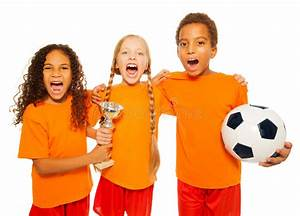 Happy Soccer Team Game With Prize Cup Screaming Stock ...