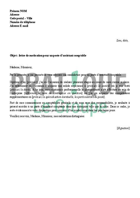 lettre de motivation pour devenir assistant comptable pratique fr