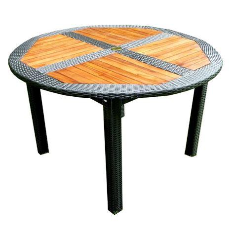 table de jardin en teck en r 233 sine tress 233 e ronde pliante