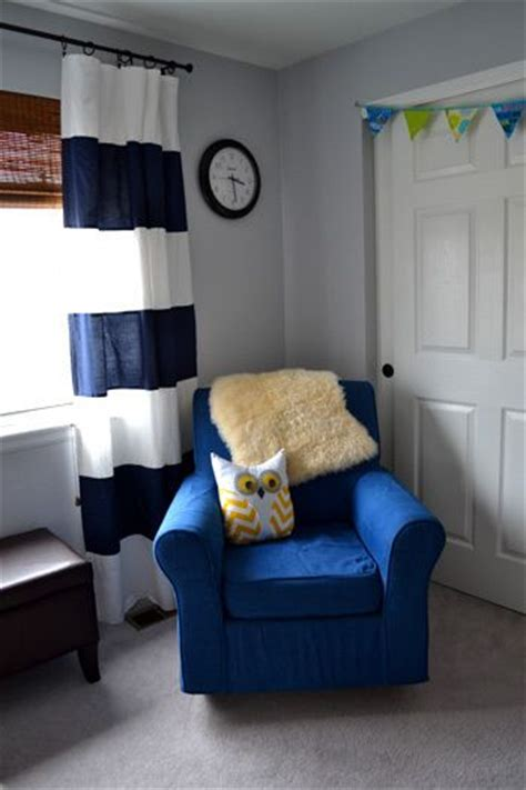 baby boy nursery navy blue white striped curtains