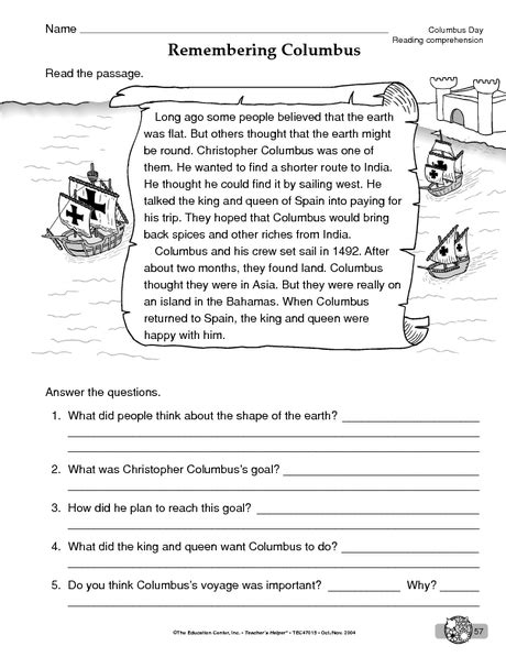Columbus Day Worksheet Reading Comprehension (reading Informational Text) Download To Save To
