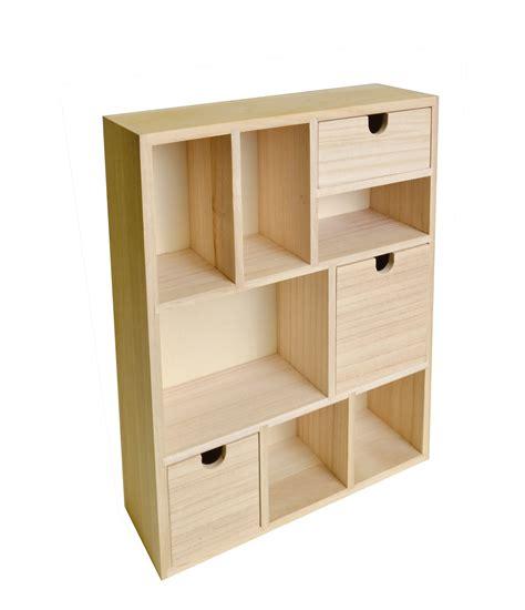 meuble en bois avec tiroirs et casiers 30x40x10cm artemio