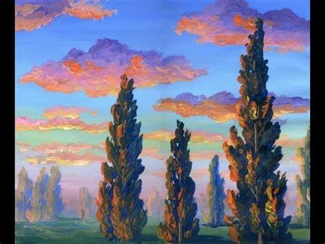 peindre le reflet du soleil sur les arbres a l acrylique sur toile