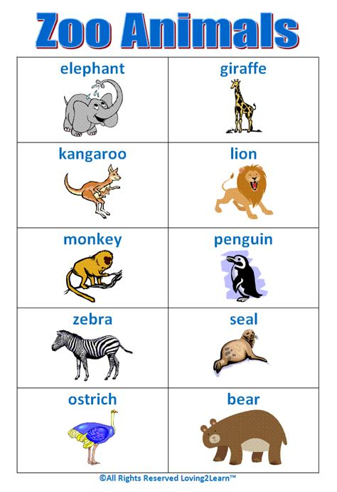 """Super """"zoo Animals"""" Chart! Wwwloving2learncom  Early Learning  Pinterest  Zoos, Zoo Book"""