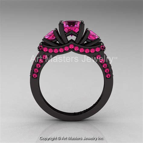 French 14k Black Gold Three Stone Pink Sapphire Engagement