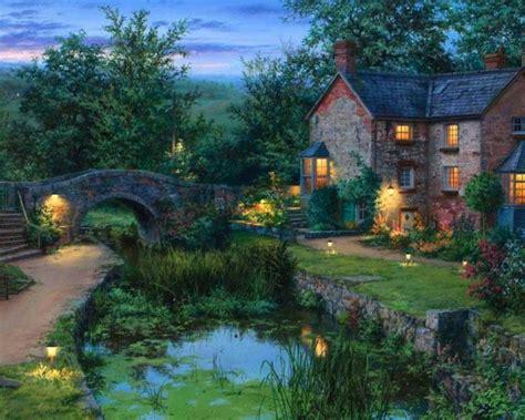 1280x1024 Cottage Bridge Pond Garden Dim Desktop Pc And