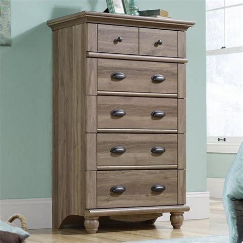 sauder harbor view dresser and mirror chest in salt oak 414941