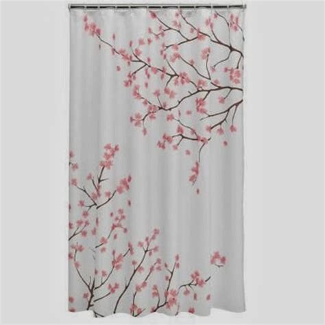 cherry blossom fabric shower curtain with