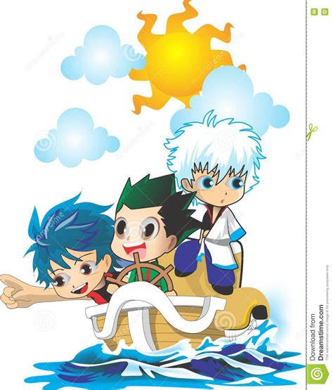 Cartoon Boat Characters by 3 Chibi Anime On Boat Stock Vector Illustration Of Book
