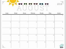 August 2018 Calendar Cute calendar for 2019