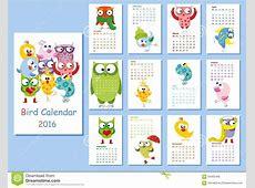Kalender 2016 Leuke Uilen En Vogels Vector Illustratie