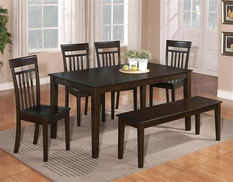5 Dining Room Set With Bench by 6 Pc Dinette Kitchen Dining Room Set Table W 4 Wood Chair