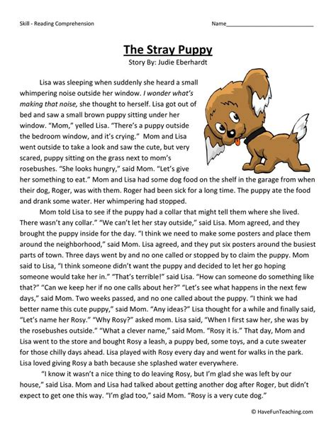The Stray Puppy  Reading Comprehension Worksheet