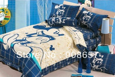 blue beige mickey mouse character bedding