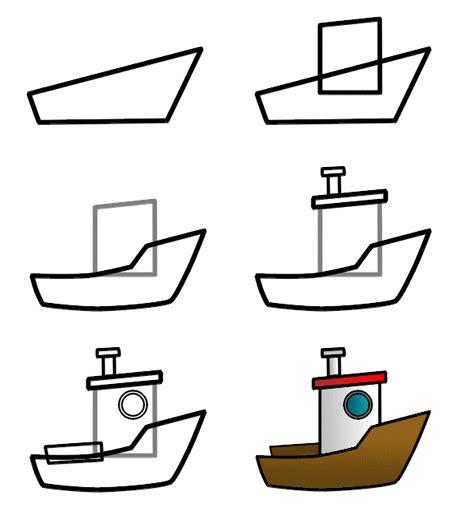 How To Draw A Cartoon Boat Step By Step drawing a cartoon boat