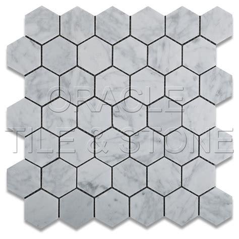 carrara white marble honed 2 quot hexagon mosaic tile mesh ebay