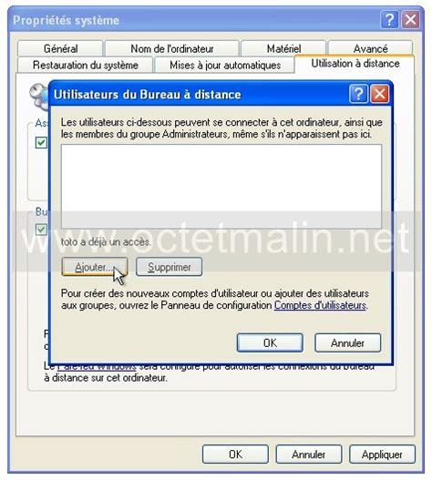 windows xp bureau 224 distance activer l autorisation 224 se connecter www octetmalin net