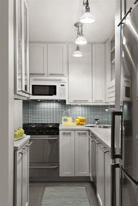 small kitchen design ideas spotlights white cabinets grey