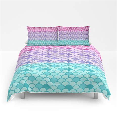 mermaid scales comforter or duvet cover set king bedding pink teal purple
