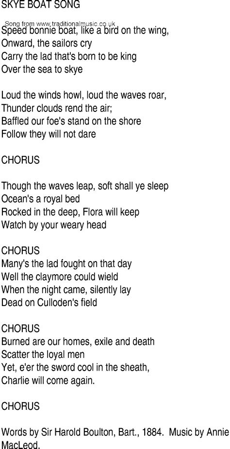 Irish Boat Song by Irish Music Song And Ballad Lyrics For Skye Boat Song