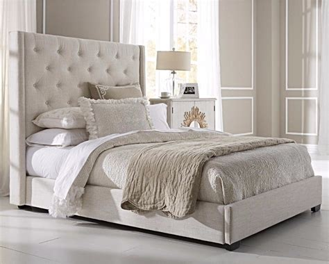 Modern Queen Size Bed Frame Upholstered Wingback Button
