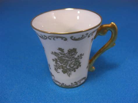 antique pate de limoges floral gilded demitasse cup
