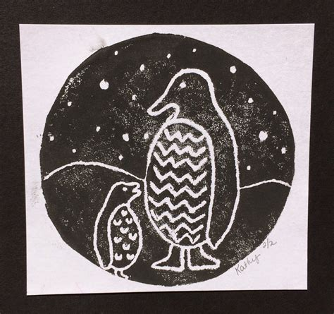 Kathy's Angelnik Designs & Art Project Ideas Patterned Penguin Printmaking