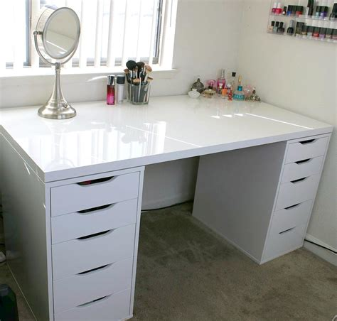 white makeup vanity and storage ikea linnmon alex minimalist desk design ideas