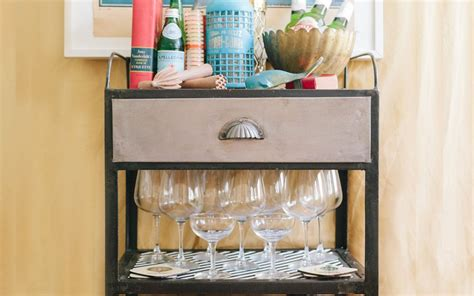 The Pottery Barn Rolling Cart Styled As A Bar Cart Nice Coffee Tables White Cottage Style Table Illuminating Round Glass Cane Mame Cabinet Rustic Contemporary Square Timber